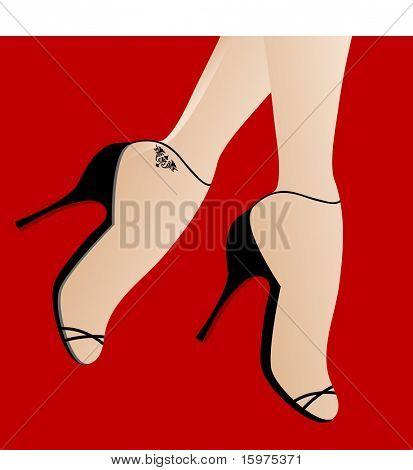 feet in highheels  walking