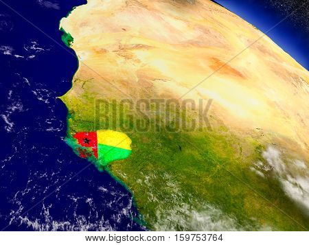 Guinea-bissau With Embedded Flag On Earth