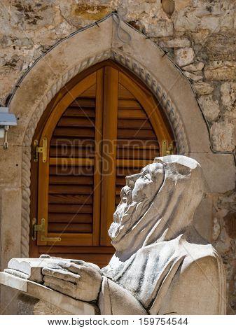 croatia. hvar. praying monk