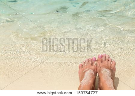Bare female feet in the water of the sea with small tropical fish surrounded holiday concept.