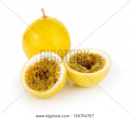 yellow, passionfrui Passion fruit isolated on white background
