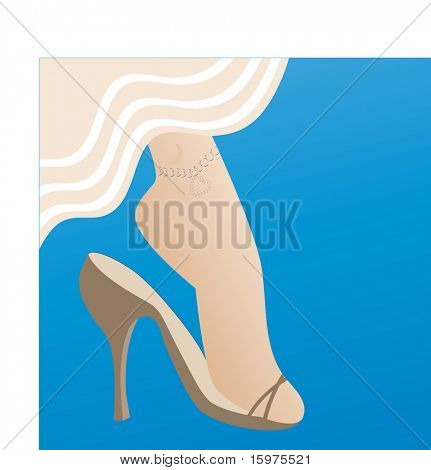 high heels with anklet on leg