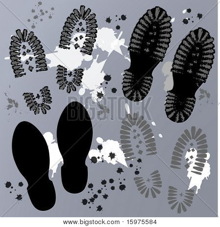 footprints with grunge