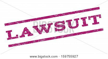 Lawsuit watermark stamp. Text caption between parallel lines with grunge design style. Rubber seal stamp with dust texture. Vector purple color ink imprint on a white background.