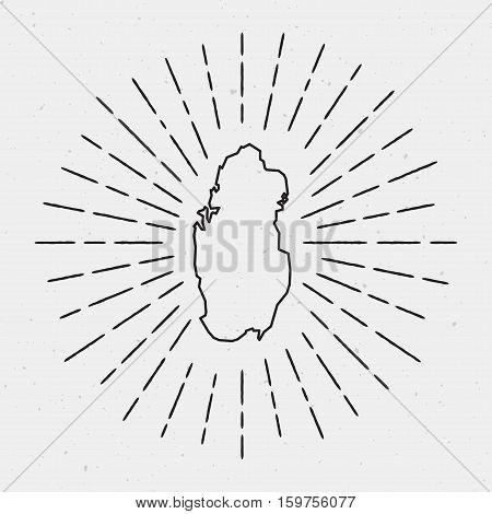 Retro Sunburst Hipster Design. Qatar Map Surrounded By Vintage Sunburst Rays. Trendy Hand Drawn Sun