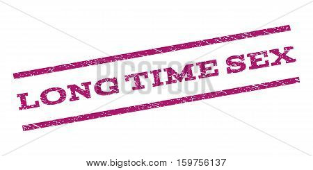 Long Time Sex watermark stamp. Text tag between parallel lines with grunge design style. Rubber seal stamp with dust texture. Vector purple color ink imprint on a white background.