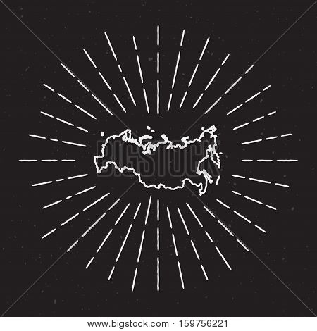 Russian Federation Vector Map Outline With Vintage Sunburst Border. Hand Drawn Map With Hipster Deco