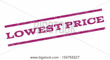 Lowest Price watermark stamp. Text tag between parallel lines with grunge design style. Rubber seal stamp with dirty texture. Vector purple color ink imprint on a white background.