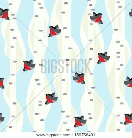 Seamless vector pattern. Winter birch trees with flying birds. Bullfinshes