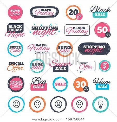 Sale shopping stickers and banners. Happy face speech bubble icons. Smile sign. Map pointer symbols. Website badges. Black friday. Vector
