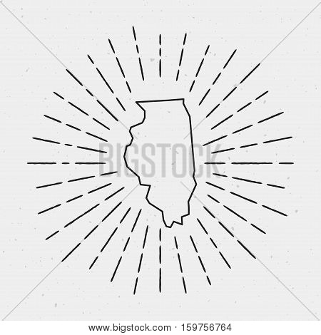Vector Illinois Map Outline With Retro Sunburst Border. Hand Drawn Hipster Decoration Element. Black
