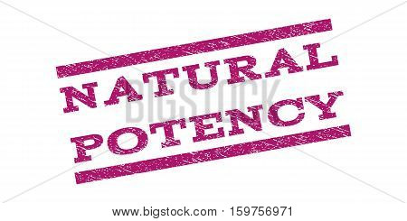 Natural Potency watermark stamp. Text tag between parallel lines with grunge design style. Rubber seal stamp with dust texture. Vector purple color ink imprint on a white background.