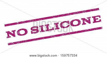 No Silicone watermark stamp. Text tag between parallel lines with grunge design style. Rubber seal stamp with dirty texture. Vector purple color ink imprint on a white background.