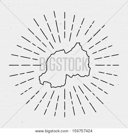 Retro Sunburst Hipster Design. Rwanda Map Surrounded By Vintage Sunburst Rays. Trendy Hand Drawn Sun