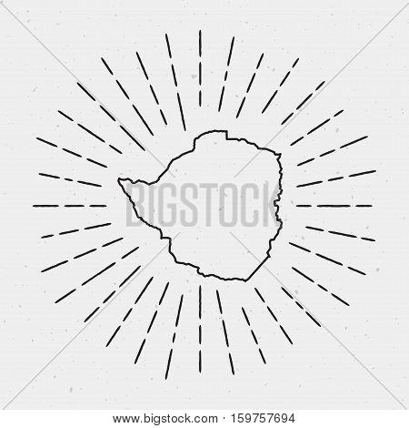 Retro Sunburst Hipster Design. Zimbabwe Map Surrounded By Vintage Sunburst Rays. Trendy Hand Drawn S