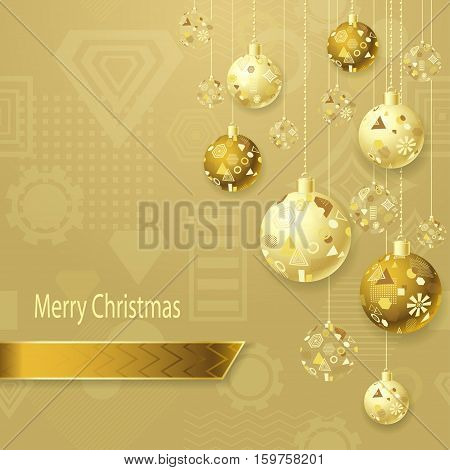 Merry Christmas or New Year background with Christmas balls in gold on light and geometric seamless pattern. Creative Post Card for winter holiday. Vector Stock  Illustration