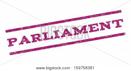 Parliament watermark stamp. Text caption between parallel lines with grunge design style. Rubber seal stamp with unclean texture. Vector purple color ink imprint on a white background.