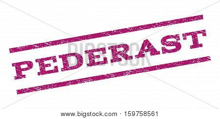 Pederast watermark stamp. Text caption between parallel lines with grunge design style. Rubber seal stamp with unclean texture. Vector purple color ink imprint on a white background. poster