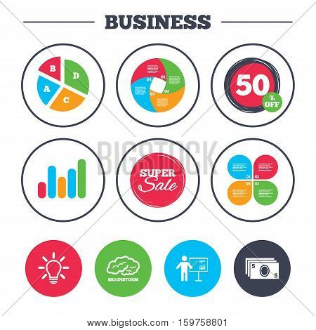 Business pie chart. Growth graph. Presentation billboard, brainstorm icons. Cash money and lamp idea signs. Man standing with pointer. Scheme and Diagram symbol. Super sale and discount buttons