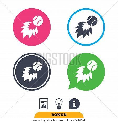 Tennis fireball sign icon. Fast sport symbol. Report document, information sign and light bulb icons. Vector