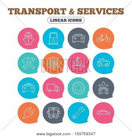 Transport and services icons. Ship, car and public bus, taxi. Repair hammer and wrench key, wheel and cogwheel. Sailboat and bicycle. Flat speech bubbles with linear icons. Vector