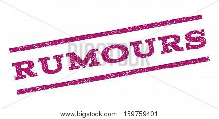 Rumours watermark stamp. Text tag between parallel lines with grunge design style. Rubber seal stamp with scratched texture. Vector purple color ink imprint on a white background.