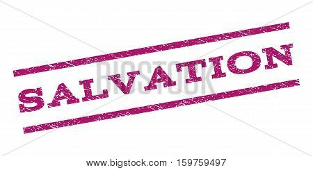 Salvation watermark stamp. Text tag between parallel lines with grunge design style. Rubber seal stamp with dirty texture. Vector purple color ink imprint on a white background.