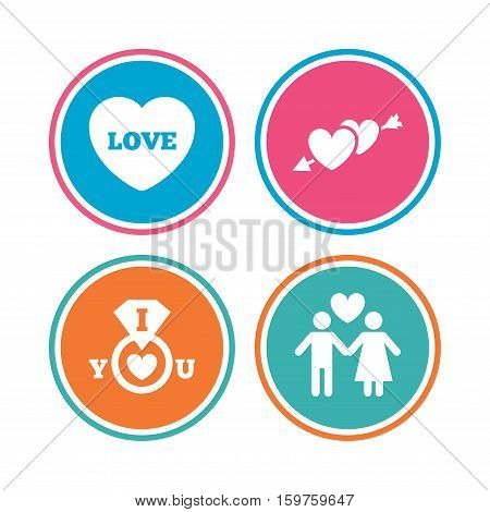 Valentine day love icons. I love you ring symbol. Couple lovers sign. Colored circle buttons. Vector