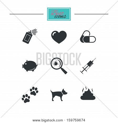 Veterinary, pets icons. Dog paws, syringe and magnifier signs. Pills, heart and feces symbols. Black flat icons. Classic design. Vector