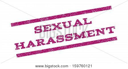 Sexual Harassment watermark stamp. Text tag between parallel lines with grunge design style. Rubber seal stamp with scratched texture. Vector purple color ink imprint on a white background.