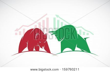 Vector of bull and bear symbols of stock market trends. The growing and falling market.