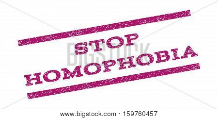 Stop Homophobia watermark stamp. Text caption between parallel lines with grunge design style. Rubber seal stamp with unclean texture. Vector purple color ink imprint on a white background.