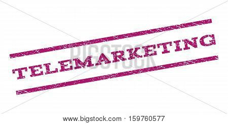 Telemarketing watermark stamp. Text tag between parallel lines with grunge design style. Rubber seal stamp with dirty texture. Vector purple color ink imprint on a white background.
