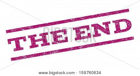 The End watermark stamp. Text tag between parallel lines with grunge design style. Rubber seal stamp with unclean texture. Vector purple color ink imprint on a white background.