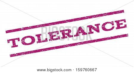 Tolerance watermark stamp. Text caption between parallel lines with grunge design style. Rubber seal stamp with dust texture. Vector purple color ink imprint on a white background.