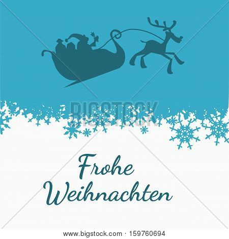 Santa with his sledge on a blue sky with snow background and the German words Merry Christmas