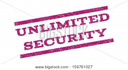 Unlimited Security watermark stamp. Text tag between parallel lines with grunge design style. Rubber seal stamp with scratched texture. Vector purple color ink imprint on a white background.
