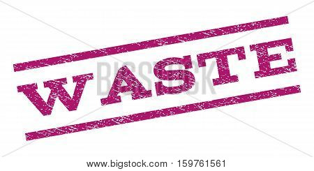 Waste watermark stamp. Text tag between parallel lines with grunge design style. Rubber seal stamp with scratched texture. Vector purple color ink imprint on a white background.