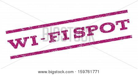 Wi-Fi Spot watermark stamp. Text caption between parallel lines with grunge design style. Rubber seal stamp with dust texture. Vector purple color ink imprint on a white background.