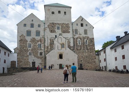 TURKU, FINLAND - JUNE 13, 2015: A view of the courtyard of the castle of Abo. The historical landmark of the city Turku, Finland