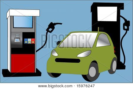 car with gas pumps