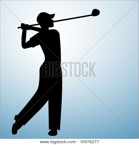 silhouette of male golfer in finished pose