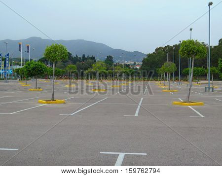 Empty Carpark In Large Shopping Mall