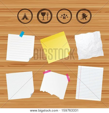 Business paper banners with notes. Food, hotel, camping tent and tree icons. Wineglass and fork. Break down tree. Road signs. Sticky colorful tape. Vector