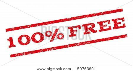 100 Percent Free watermark stamp. Text caption between parallel lines with grunge design style. Rubber seal stamp with dust texture. Vector red color ink imprint on a white background.