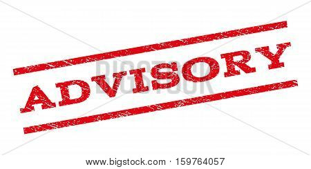 Advisory watermark stamp. Text caption between parallel lines with grunge design style. Rubber seal stamp with dust texture. Vector red color ink imprint on a white background.