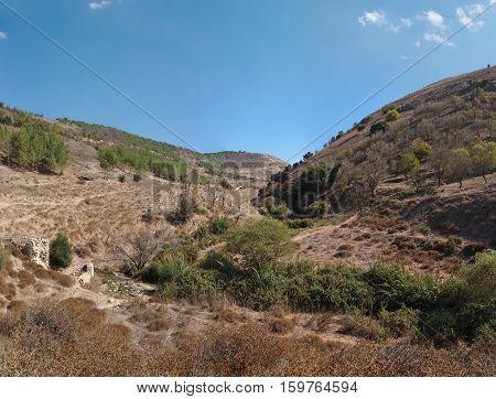 Brown Mediterranean hills in autumn in Galilee, Israel