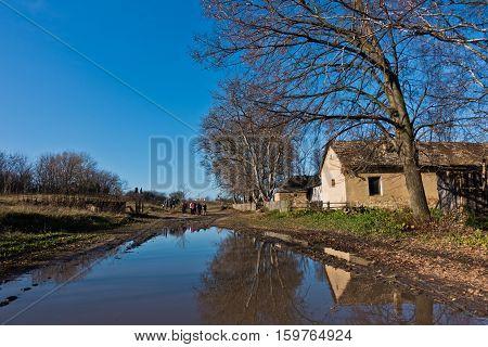 Small pond on a trekking path at rural countryside of Deliblatska pescara, Serbia