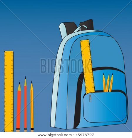 backpack with ruler and pencils