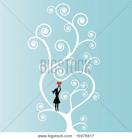 coil tree with love heart and girl heart says